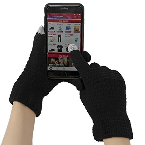 Winter Touchscreen Gloves for Women Men Wool Knitted Windproof Texting Gloves Mittens