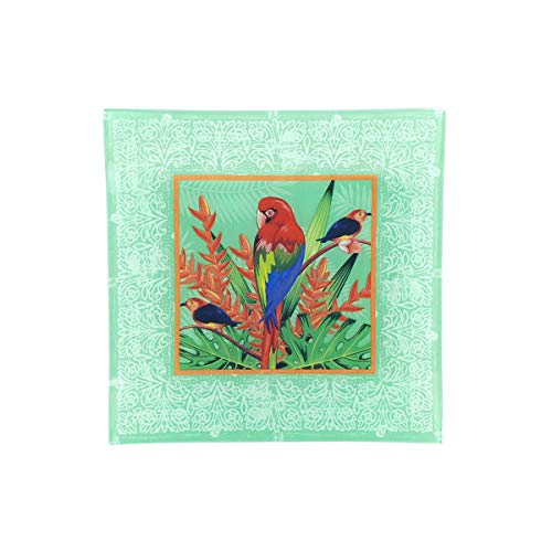 Plato Cuadrado Multicolor Decorativo de Cristal 'Loro' Vajillas y Cuberterías. Decoración Hogar. Centros de Mesa. Regalos Originales. 21,50 x 21,50 x 2 cm