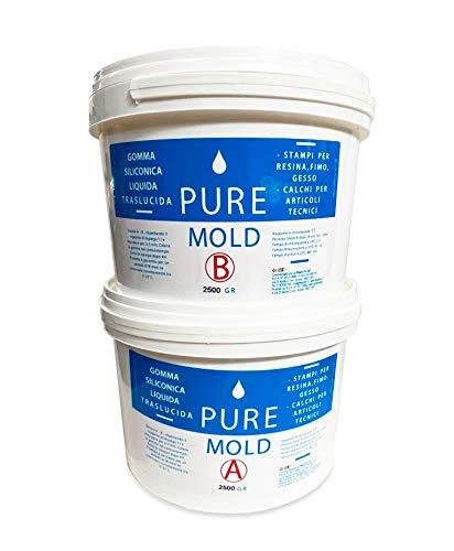Gomma Siliconica Liquida Pure Mold - da colata per Stampi Resina Fimo Gesso – 13 Shores -Traslucida e Veloce - 5 kg