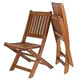 H4L Klappstuhlset für Kinder 2er Set Kinderstuhl Holzstuhl Eukalyptus geölt 2 Stühle Gartenstühle Campingstuhl