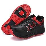 RUBAPOSM Zapatos Multiusos 2 En 1 Patines - Automática Calzado de Skateboarding Deportes de Exterior Patines en Línea Aire Libre y Deporte Gimnasia Running Zapatillas,Negro,42