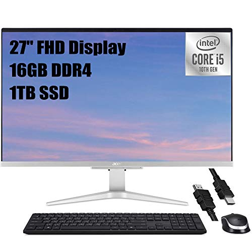 Flagship Acer Aspire C27 All in one Desktop Computer 27' FHD Display 10th Gen Intel Quad-Core i5-1035G1(i7-8550U) 16GB DDR4 1TB SSD MX130 2GB Webcam WiFi Keyboard & Mouse Win 10 + iCarp HDMI Cable