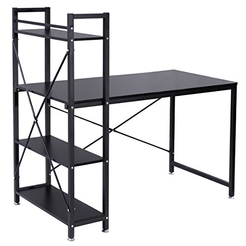 New Black Modern Computer Desk with 4-Tier Shelves PC Workstation Study Table Home Office