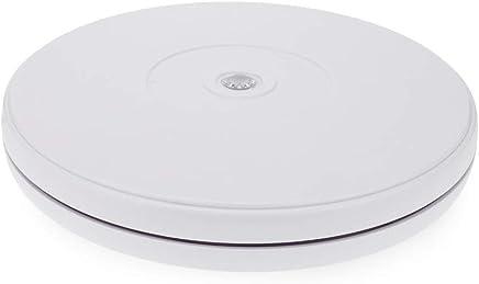 Cablematic– Elektrischer Drehteller, Durchmesser 250mm, Höhe 29mm, Weiß, mit LED-Beleuchtung
