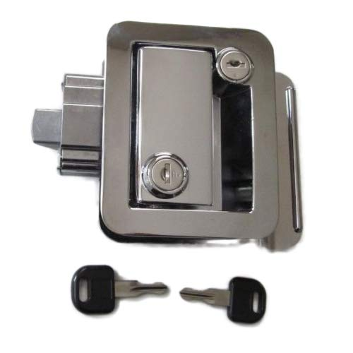 (H&H) New RV Entry Door Lock Handle Knob/Chrome/Deadbolt (Camper Travel Trailer) (1pc)