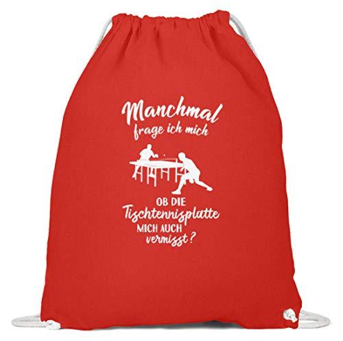 shirt-o-magic Tischtennisspieler: Ob Tischtennis mich vermisst? - Baumwoll Gymsac -37cm-46cm-Hellrot