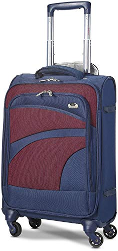 Aerolite Lightweight 55cm 4 Wheel Travel Carry On Hand Cabin Luggage Suitcase Approved for easyJet British Airways Ryanair and More, Navy Blue Plum Purple