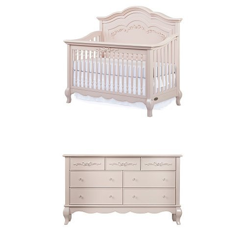 Evolur Aurora 5-in-1 Convertible Crib, Blush Pink Pearl with Drawer Double Dresser