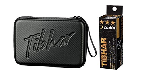 TIBHAR Table Tennis BAT CASE Carbon Square (Black), Free: 3 Star 40mm ITTF Approved Celluloid Balls (Pack of 3)