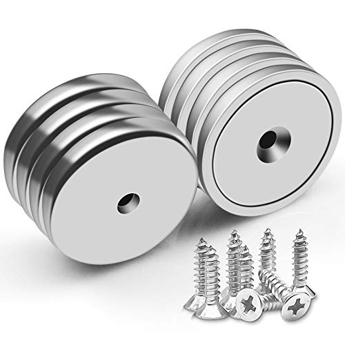 Pack of 8 Neodymium Cup Magnet with Countersunk Hole 100 LBS Pull Force Industrial Strength Round Base Rare Earth Magnets, 1.26''D x 0.2'H, 10 Screws Included (8)