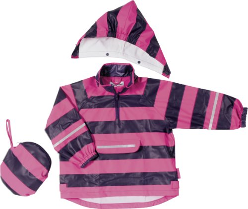 Playshoes Unisex dziecięce ponczo przeciwdeszczowe w paski, płaszcz przeciwdeszczowy, różowy/liliowy, 104 cm