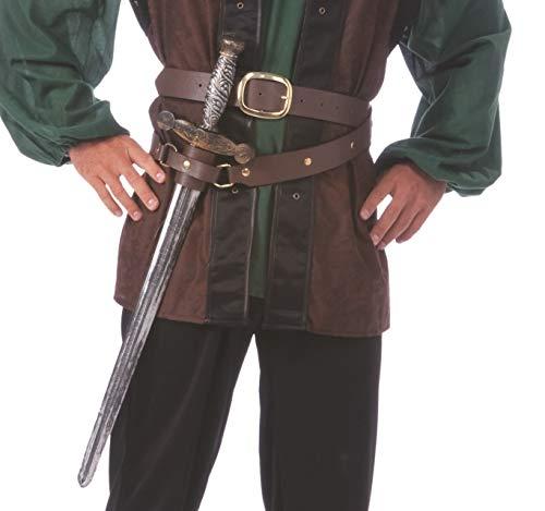 shoperama Doppelter Gürtel mit Schwert-Halter in Braun Mittelalter Ritter Krieger Robin Hood Kostüm-Zubehör