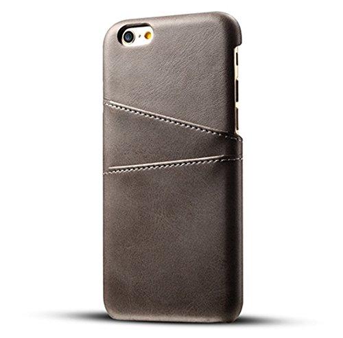 Desconocido Funda iPhone 6 Plus / 6S Plus, Funda Tarjetero Slim de Piel Sintética Vintage con 2 Ranuras para Tarjetas/DNI Cubierta Simple Fácil de Instalar para iPhone 6 / 6S (iPhone 6 / 6S, Gris)
