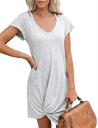 ACKKIA Women Casual Short Sleeve V Neck Cutout Twist Knot Summer Mini Shirt Dress