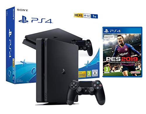 PS4 Slim 1To Console Playstation 4 Noir + PES 2019: Pro Evolution Soccer 2019