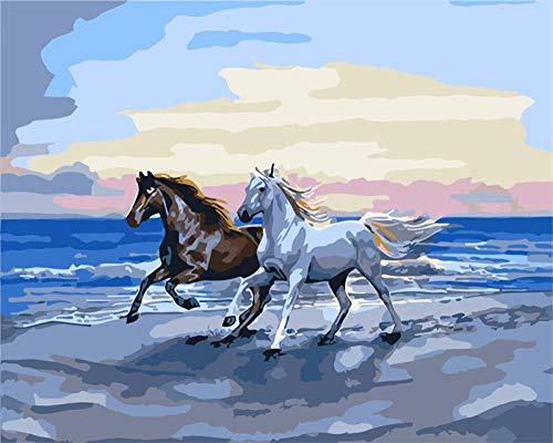 ZDXFG Pintura por Números DIY Pintar por Numeros para Adultos Niños Pintura al óleo Kit con Pinceles y Pinturas 40 * 50cm con marco Pareja junto al mar caballo-smt7710