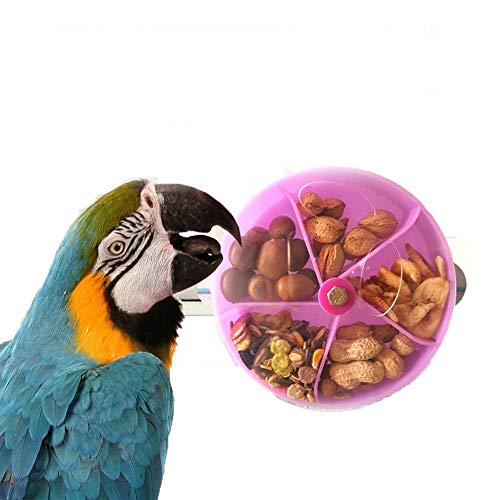 Mawaki 小鳥トレーニングおやつボールインコの用品 鳥の餌入れ 知育用品 フォージング 掛けタイプ 知育用品 鳥フードフィーダーセキセイインコやオカメインコ小動物に(パープル)