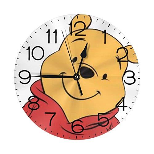 NOBRAND Soporte Base Relojes sin Marco Reloj Digital clásico sin tictac Reloj de Winnie-The-Pooh Número Reloj de Pared Redondo