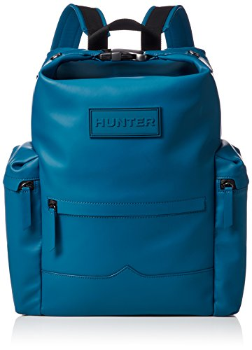 Hunter Original Blue Waterproof Rubberised Large Leather Backpack