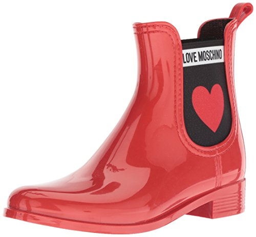 Love Moschino SCA.nod.rainboot30 PVC, Bottes Chelsea Femme, Rouge (Rosso 500), 35 EU