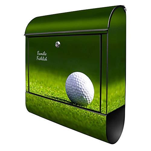 Banjado Design Briefkasten personalisiert mit Motiv Einsamer Golfball | Stahl pulverbeschichtet mit Zeitungsrolle | Größe 39x47x14cm, 2 Schlüssel, A4 Einwurf, inkl. Montagematerial