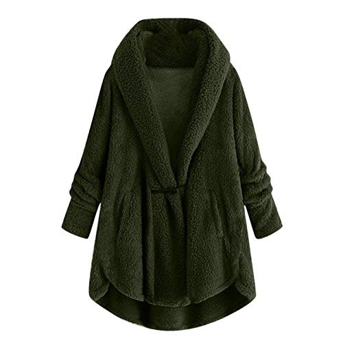 Fashion Women's Autumn and Winter Women's Clothing Europe and The United States Horn Button Plush Jacket Hooded Solid Color Casual Jacket to Keep Warm in Winter ArmyGreen