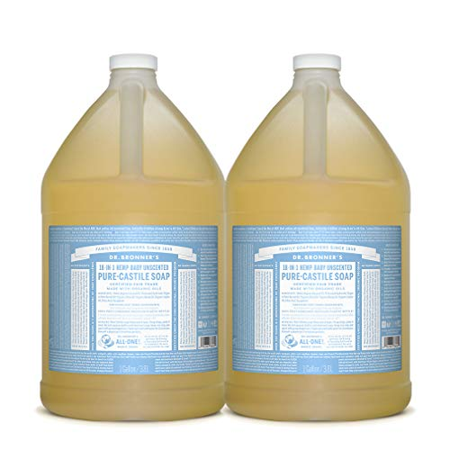 Dr. Bronner's - Pure-Castile Liquid Soap (Baby Unscented, 1 Gallon, 2-Pack) - Made with Organic Oils, 18-in-1 Uses: Face, Hair, Laundry and Dishes, For Sensitive Skin and Babies, No Added Fragrance