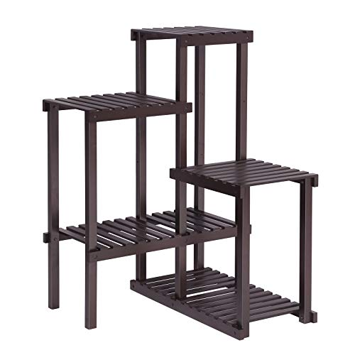 SONGMICS Bamboo Plant Stand, Flower Shelf, Display Rack, DIY Adjustable Shelving Unit for Balcony, Bathroom Living Room Yard Garden Indoor Outdoor Brown UBCB92BR