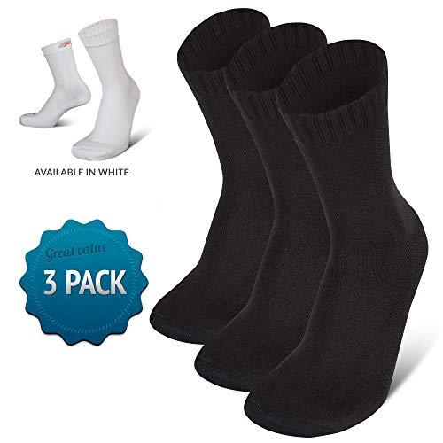 COMPRESSION FOR ATHLETES 3er Packung hochwertiger Quarter Socken von CFA Perfekt für alle Sportarten, Für Männer und Frauen. In der EU hergestellt. (Schwarz - 3 Paare, 43-46)