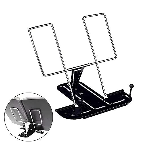 yonghe Soporte para libros de lectura con soporte para tableta, soporte de música, soporte de mesa de metal inclinable, caballete de dibujo de mesa (color: negro)