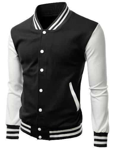 Stylish Color Contrast Long Sleeves Varsity Jacket Black Size XL