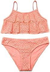 SHEKINI Niñas Niños Dos Pieces Bikini Set Lace Swimsuit 2 Piece Bañador Swimwear (10-12 años de Edad, Naranja)