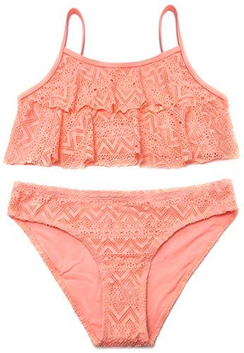 SHEKINI Mädchen Zweiteiler Bikini Badeanzug Teenager Bademode Spitze Schwimmanzug Tankini Set (Small, Orange)