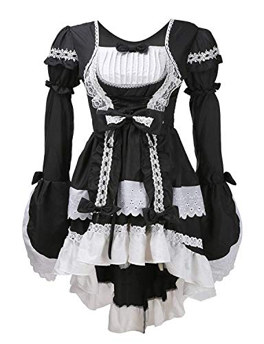 LATH.PIN Damen Cosplay Kostuem Lolita gotische Kleider Abendkleider Partykleid (Schwarz)