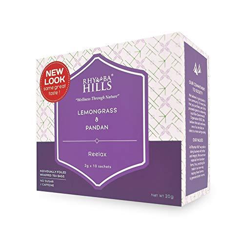 Rhymba Hills Reelax Tea Citrusy Lemongrass and Asian Vanilla Pandan | Promotes Better Sleeps | Helps in Debloats & Digestion | Soothing Aroma Taste | 10 sachets