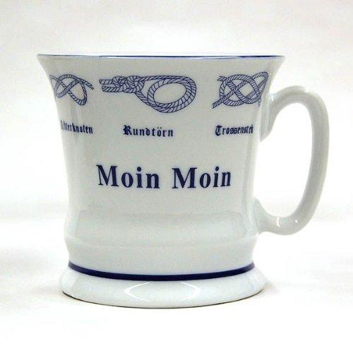Hamburger Pott Moin Moin, Hamburg Kaffee-Becher mit Seemannsknoten und dem typischen Hamburg Gruß