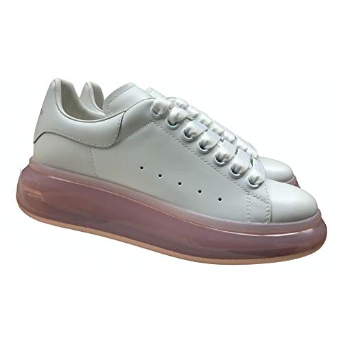 Alexander McQueen White Pink Sole Oversize Sneakers New/Authentic FW20 (9)