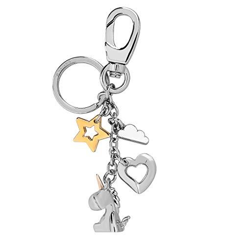Navaris Schlüsselanhänger Einhorn Herz Stern Wolke - Schlüssel Anhänger aus Metall mit Ring Karabiner - Keychain für Schlüsselbund Handtasche