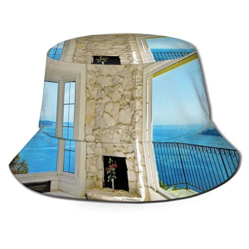 Unisex Printed Fisherman Hat,Modern Hollywood Star Houses Inspired Design with Ocean Nature Forest View Art,Portable Travel Hat Fashion Outdoor Hat