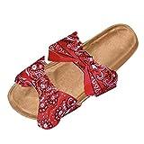 Schuhe Damen Sandalen Bowknot Roman Flat Slippers Casual Beach Indoor & Outdoor (40,Rot)