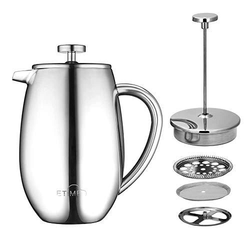 ETiME Kaffeebereiter Kaffeekanne Teebereiter Pressfilterkanne Edelstahl thermoisoliert groß 1 L Silber (1L Typ 4 Silber)