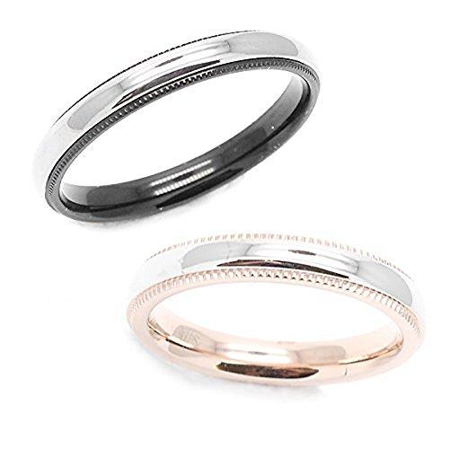 ペアリング 指輪 サージカルステンレス ペア レディース17号 メンズ21号 おそろい ミル打ち スタイリッシュ シンプル 人気