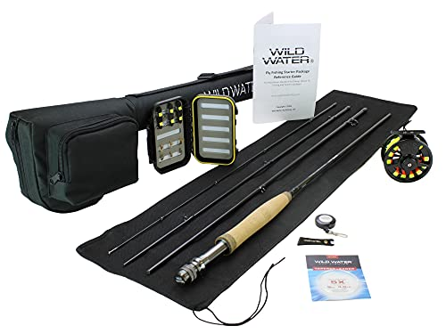 Wild Water Fly Fishing 9 Foot, 4-Piece, 5/6 Weight Fly Rod Complete Fly Fishing Rod and Reel Combo