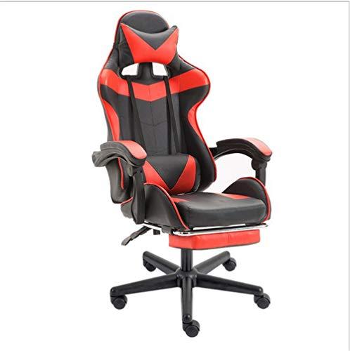 Gaming Chair Büro High Back Leder-Computer-Schreibtisch Racing Stuhl Vorstand Und Ergonomischer Drehstuhl Mit Kopfstütze Für Internet Cafe-Haus Mit Fußstützen