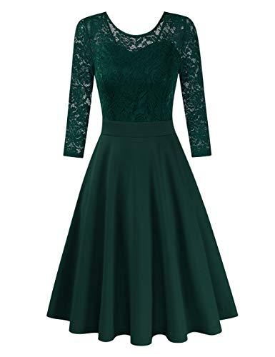 Clearlove Damen Kleider Elegant Spitzenkleid 3/4 Ärmel Cocktailkleid Rundhals Knielang Rockabilly Kleid(Verpackung MEHRWEG), Grün-3/4 Ärmel, M