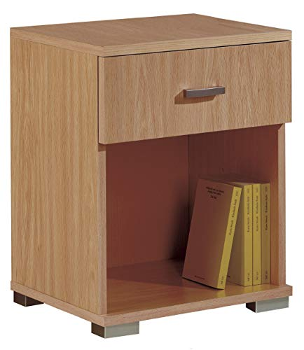 Miroytengo Mueble mesita Auxiliar 1 Cajon 1 Hueco habitacion despacho Dormitorio Color Cerezo 50x40x31