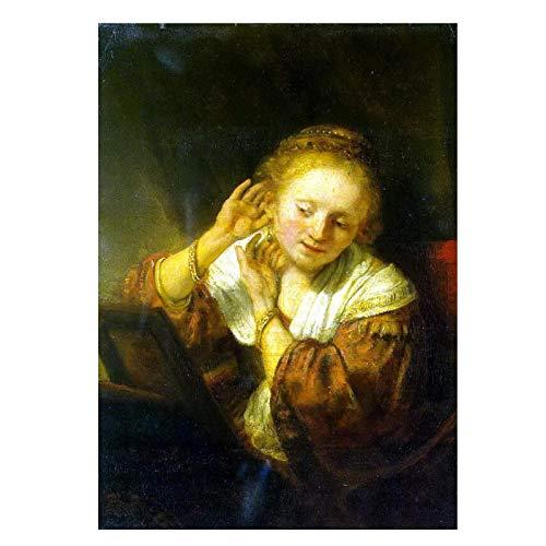AZTeam Impresión De Lienzo De Rembrandt, Mujer Joven Probándose Pendientes, Póster Artístico Impreso, Pinturas, Lienzo para Decoración del Hogar, Arte De Pared, 50X70Cm Sin Marco