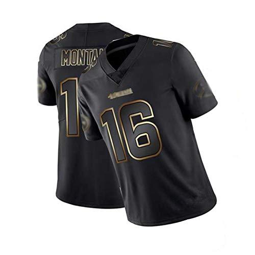 WHUI Montana Rugby Jersey 16#, Chaleco Deportivo de fútbol para Hombres 49ers, edición de Oro Negro, Transpirable y cómodo XXXL