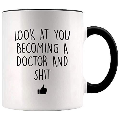 YouNique Designs Future Doctor Coffee Mug, 11 Ounces, White, Funny Medical Student Cup, Med School Mug, Medical School (Black Handle)