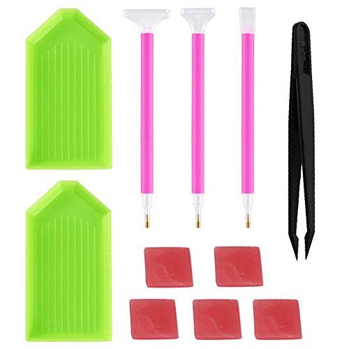 Gemini_mall DIY Diamond Painting Tools Diamond Sticky Pens Plates Clays Tweezers, 11 Pieces in Total (Pens+Plates+Clays+Tweezers)